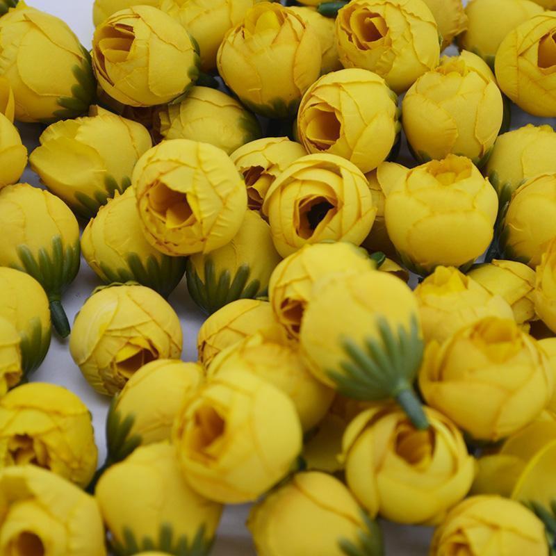 20 Stücke 2 cm Künstliche Rose Knospe Kleine Seidenblume Tee Knospe Kopf Für Hochzeit Home Party Dekoration DIY Kranz Scrapbooking Handwerk