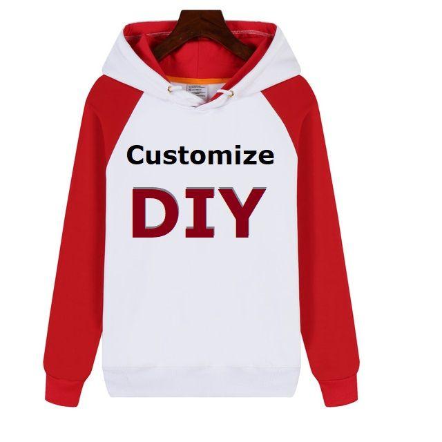 Custom Made Mens Hoodies DIY Print LOGO Design Fleece Thicken Coat Jacket Sweatshirts