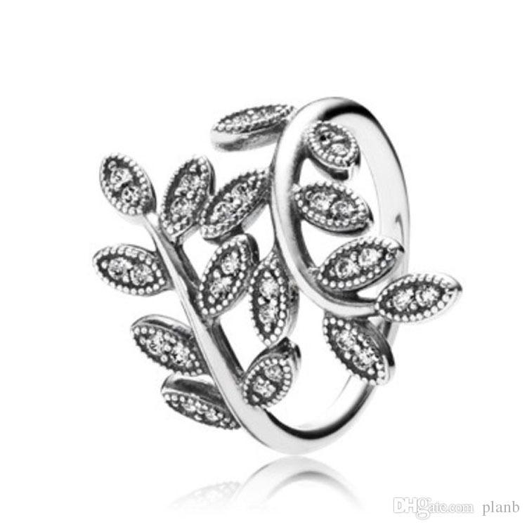 YENI Moda CZ Elmas 925 Ayar Gümüş Alyans Set Orijinal Kutusu Pandora Köpüklü Yapraklar Kadınlar için Kadın Kızlar Hediye takı