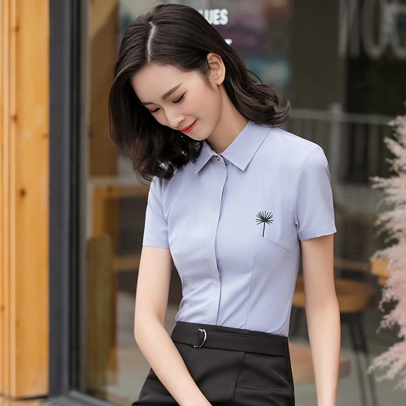Occupation White Shirt Woman Short Sleeve Correct Dress Small Lead Self-cultivation Ol Work Clothes Fresh White Shirt Han Fan