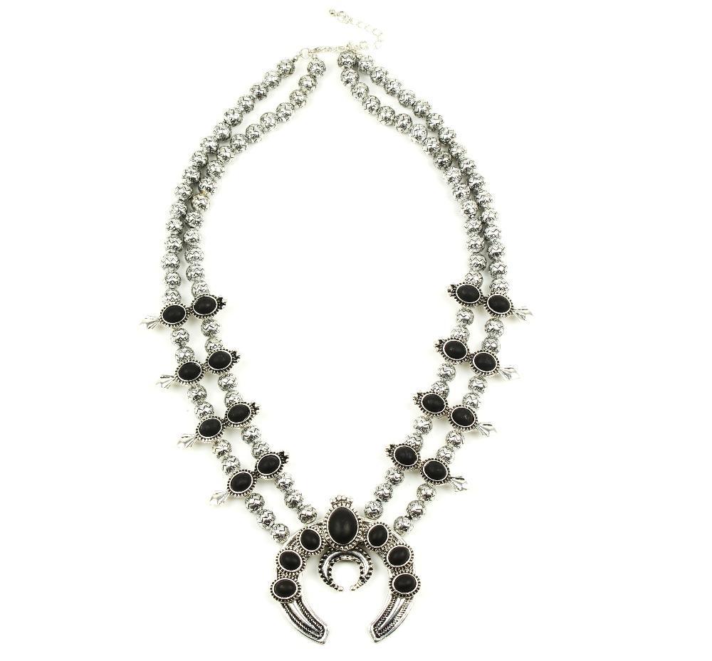 Diseño personalizado 2017 más vendido collar de flores de calabaza, collar de flor de calabaza de plata del vintage N2178