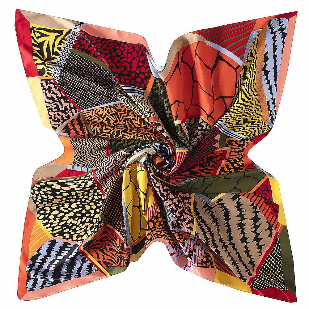 100% soie sergée Femmes Foulard 130 * 130 Handmade Espagne Imprimer la place Foulards Vintage Foulard soie Femme Hijab Lady Bandana cadeau soie Châle