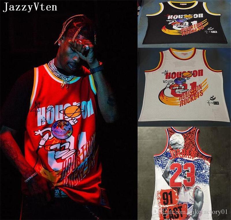 Travis Scott X BR X MN 01 Jack Reporta el baloncesto Jersey de los hombres camisetas hiphop street jerseys