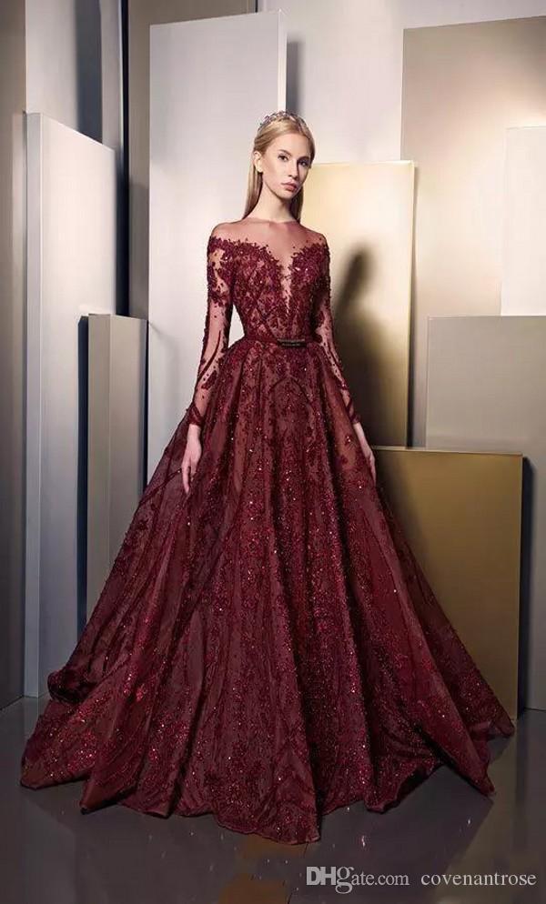 화려한 부르고뉴 이브닝 드레스 깎아 지른 롱 슬리브 반짝이 럭셔리 아플리케 두바이 아랍어 이브닝 가운 지아드 나카드 공식 파티 드레스