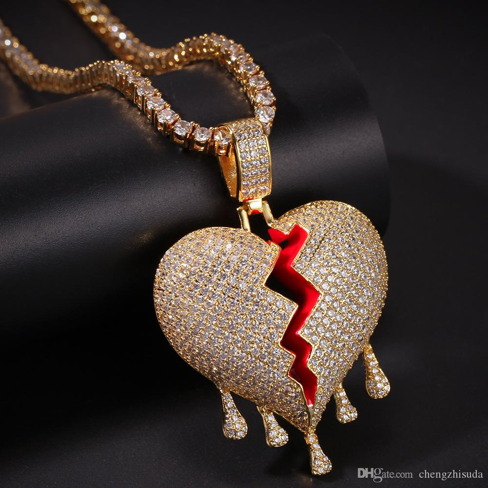 Iced out Drip Hearts Necklace Pendant With Rope Chain Gold Silver Color Cubic Zircon Hip hop Jewelry