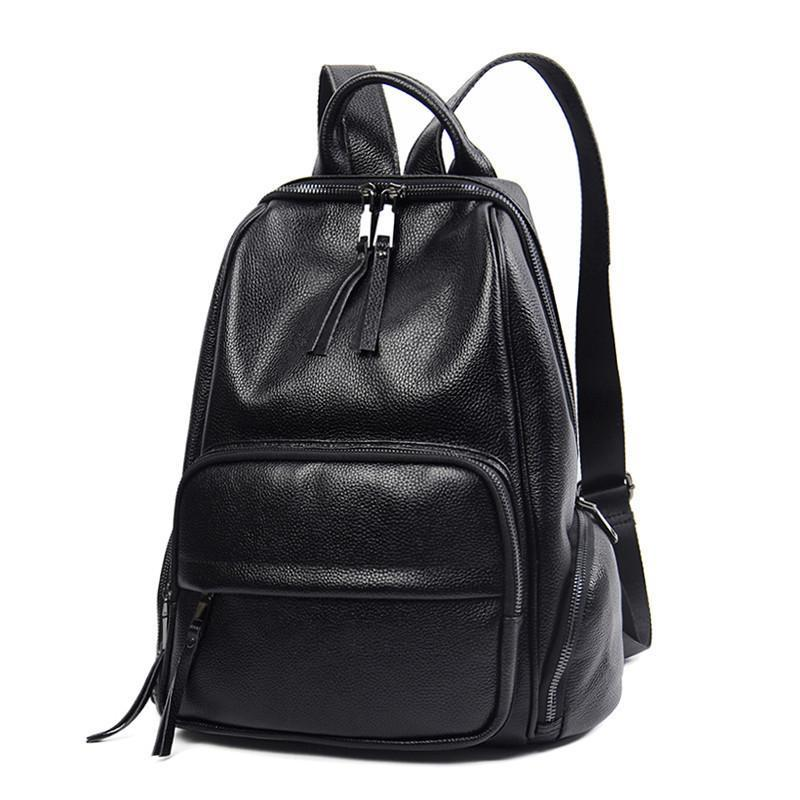 Glitzy2019 Woman Wind Genuine Leather Both Shoulders Package Women's Backpack More Function Travel Spelling Much