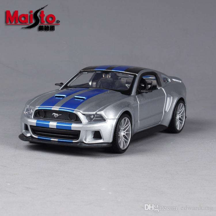 Maisto Diecast Alloy Silvery Ford Mustang GT Model Car Toy, Sports Cars, 1:24 Scale Ornament, Xmas Kid Birthday Boy Gift, Collecting, 2-1