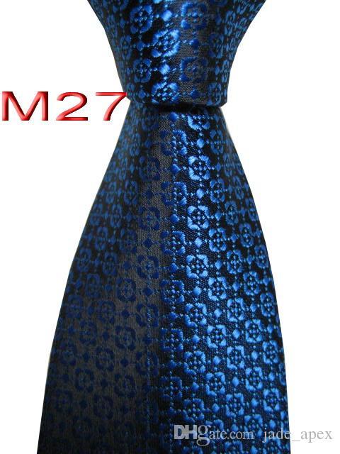 Unique JACQUARD WOVEN HANDMADE Men's Black/Blue Floral design Men tie Necktie M27