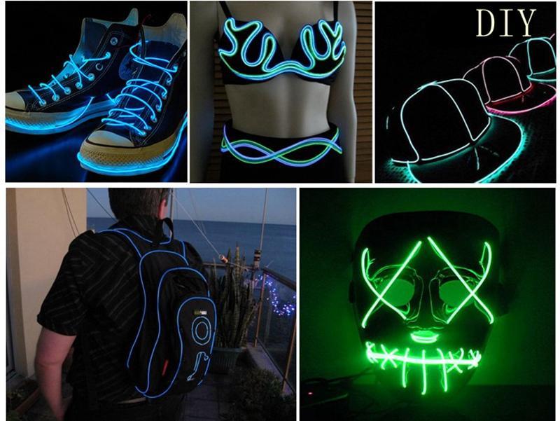 네온 빛 댄스 파티 장식 빛 네온 LED 램프 유연한 EL 와이어 로프 튜브 방수 LED 스트립
