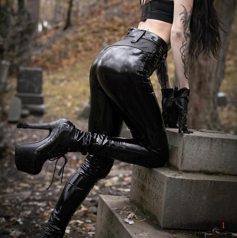 La manera caliente para mujer primavera pantalones de diseño atractivo del club del punk Gótico Negro de piel polainas de glúteos Sheer cremallera para mujer Pantalones PH + ZY20040303