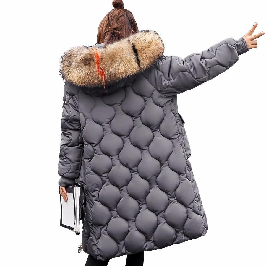 Winter Jacket Women Coats Artificial Raccoon Hair Collar Female Parka Black Thick Cotton Padded,Red,M