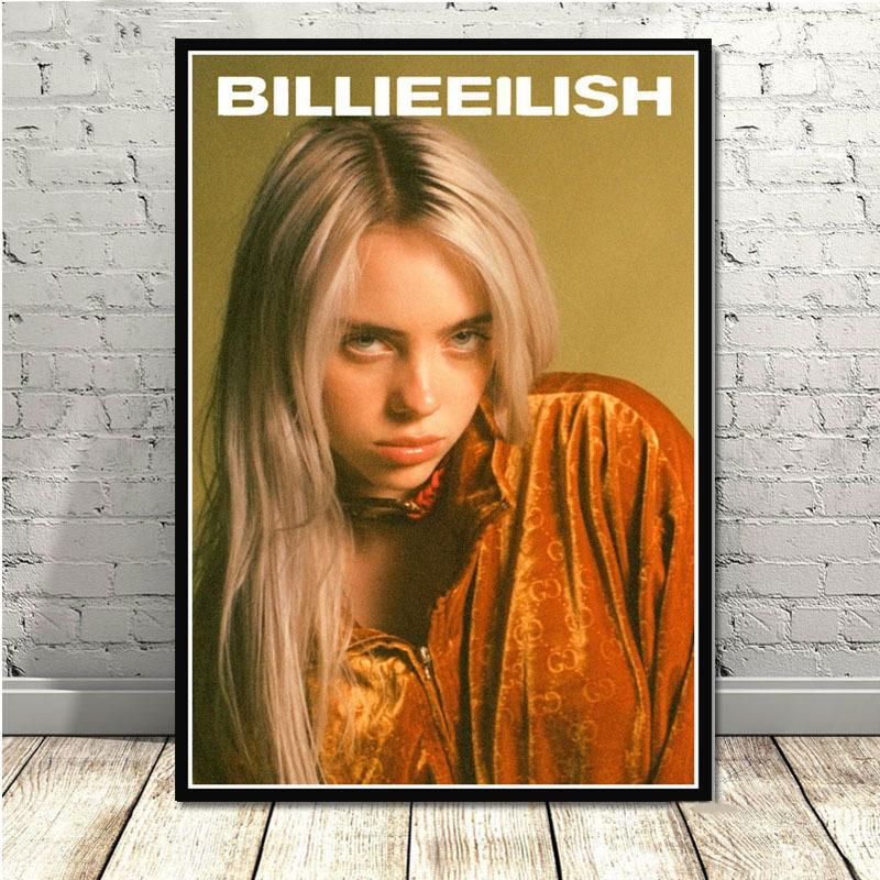 Hot Billie Eilish Music Singer Star Posters And Prints Pictures On The Wall Canvas Painting Decorative Home Decor Cuadros