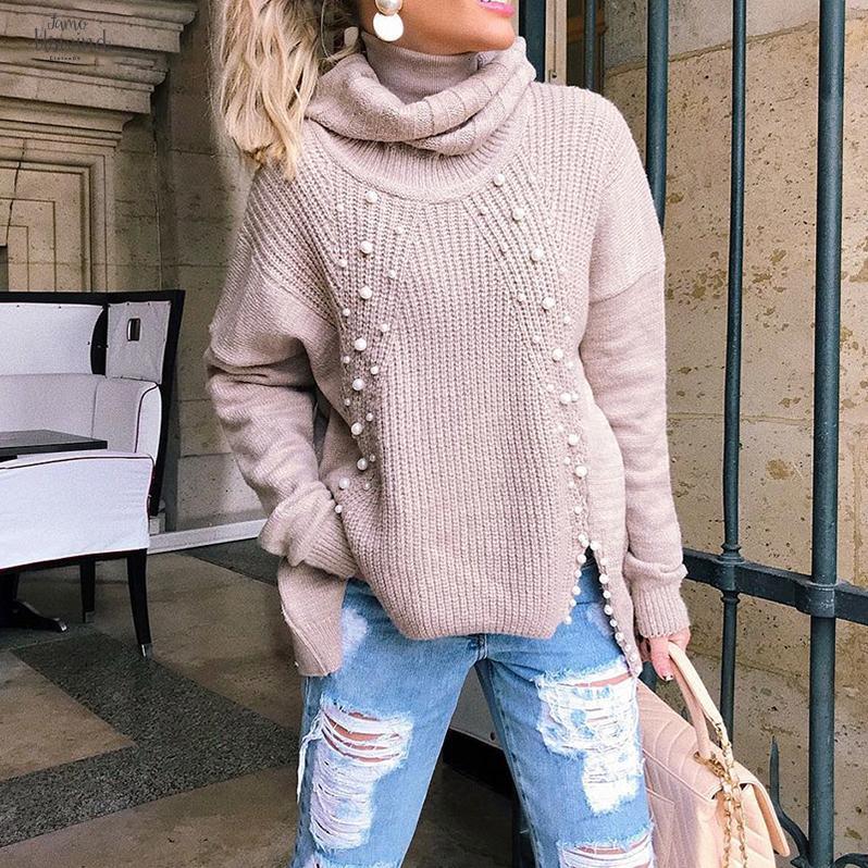 터틀넥 플러스 사이즈 느슨한 니트 스웨터 구슬 분할 캐주얼 여자 스웨터 긴 소매 풀오버 점퍼 겨울