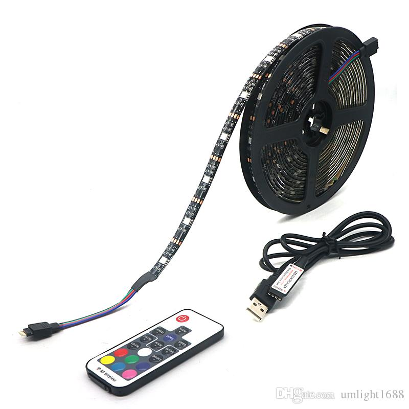 Umlight1688 USB LED قطاع 5050 RGB TV خلفية إضاءة عدة كوتابل مع 17 مفتاح RGB LED المراقب المالي 5M / 1M / مجموعة 2M