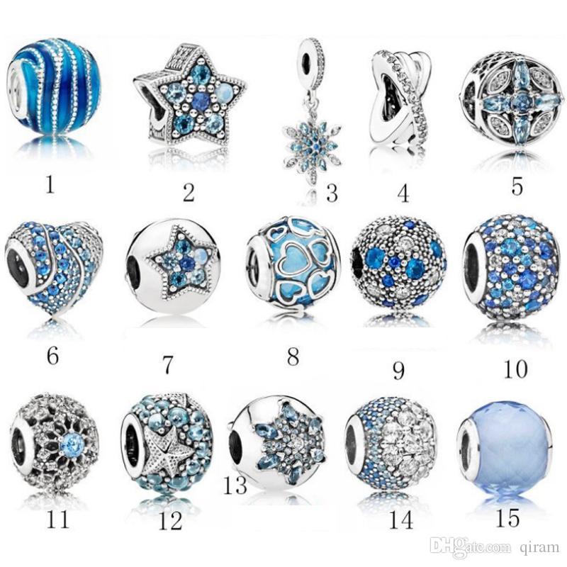 S925 Sterling Silber Schmuck DIY Big Perlen Für ALE Charme für Armbänder Armreif Für Frauen Für europäische BlueColor Armbänder