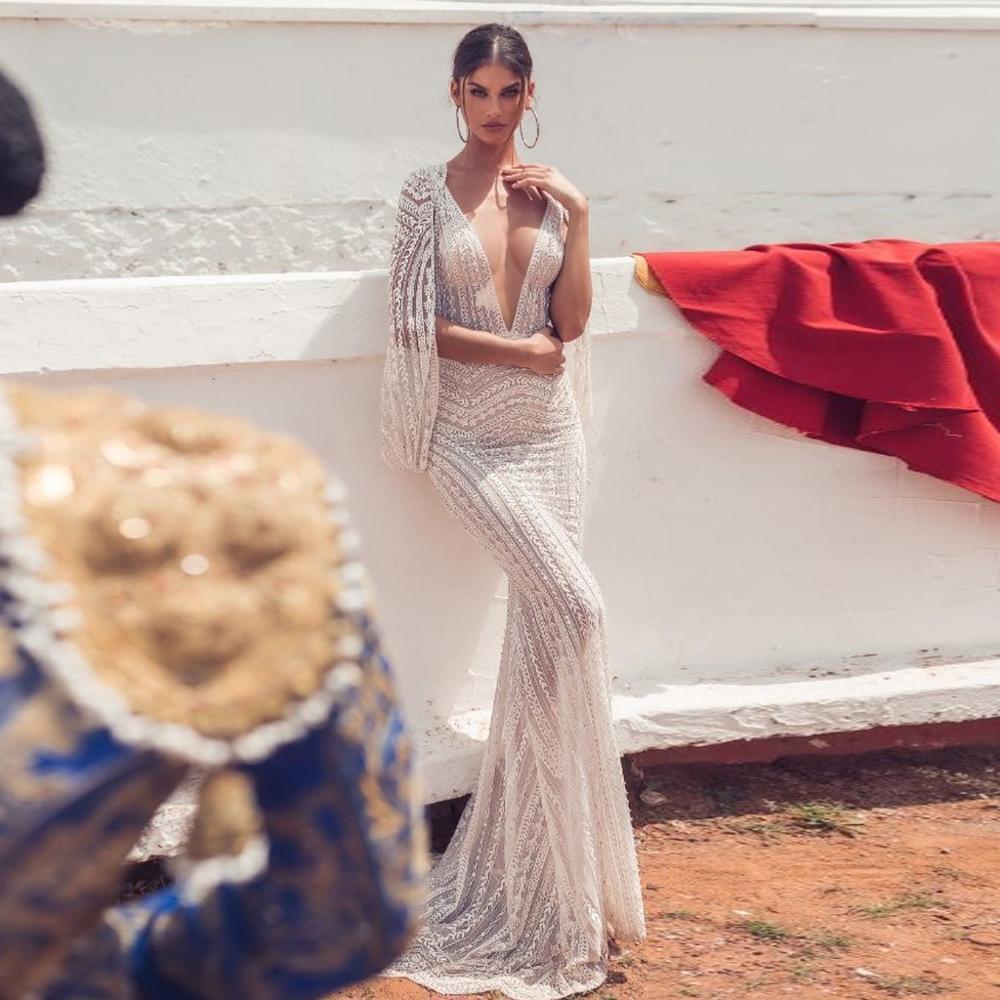 Femmes Sexy Party Robe de sirène blanche évider manches col V profond robe dos nu robe de bal