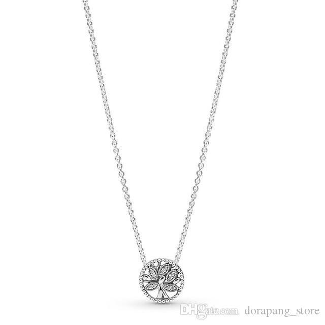 NOUVEAU 100% 925 2019 en argent sterling flottant Médaillon Couronne O collier de perles Pave Clavicule chaîne Fit bricolage originale Femmes Bijoux 2