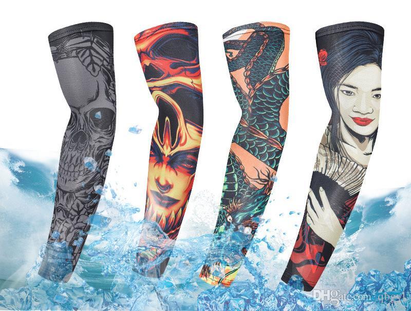 manguito de protección solar UV de seda de hielo de equitación deportes al aire libre conducción de flores manga elástica hombres y mujeres del brazo del tatuaje del brazo del tatuaje lances de pesca mangas