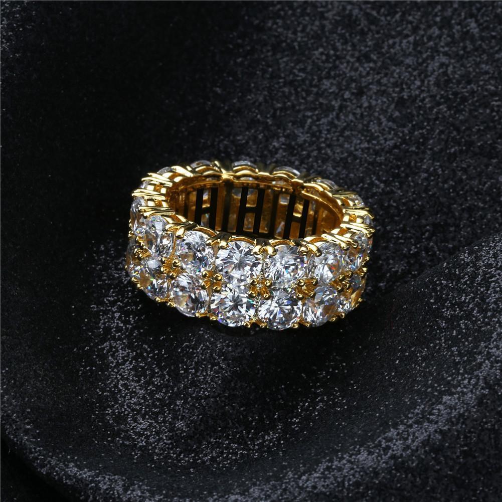 Хип-хоп Кольца Rhinestone для мужчин и женщин - золотой серебряный цвет сплава Кубический циркон Iced Bling Кубинское кольцо роскошные украшения (размер США 7-11)