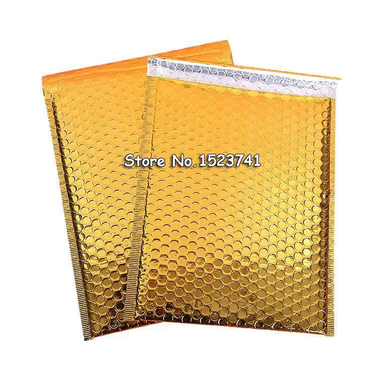 30pcs 18 * 23cm de correo sobre del oro Bolsas bolsas de mensajeria impermeable Embalaje Burbuja anuncios publicitarios de los sobres rellenados de la burbuja Bolsa
