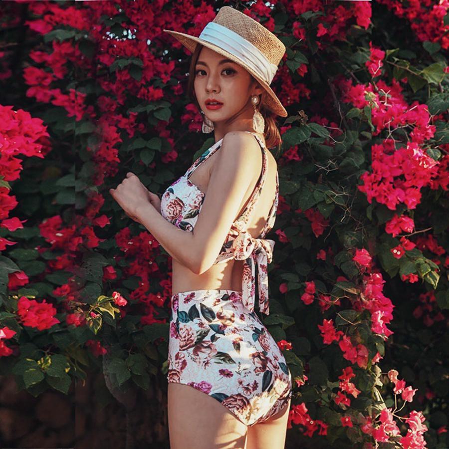 Donne stampato backless bow costume da bagno due pezzi split bikini push up costume da bagno gonna femminile costume da bagno spiaggia costumi da bagno LJJR427