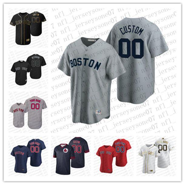 Benutzerdefinierte Männer Frauen Jugend BostonRed Soxschwarz rot grau weiß Authentic Wochenende 2020 Home Jersey