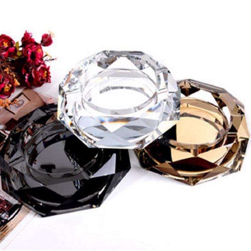 Kristallglas achteckige Aschenbecher 5 farben mode kreatives hotel restaurant hause einrichtung zubehör handwerk ashtray freies verschiffen