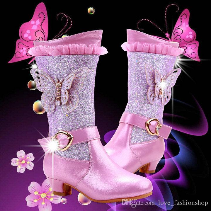 3 ألوان الأطفال التجزئة مصمم فراشة الأميرة حذاء الثلوج في فصل الشتاء الفتيات ترف زائد المخملية ذات الكعب العالي التمهيد الدافئة أحذية الأطفال