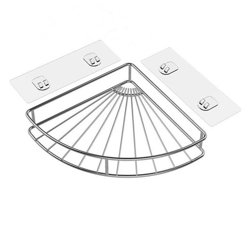 Tablette de coin salle de bains adhésif pour douche Panier mural pour la cuisine Organisateur de stockage toilettes en acier inoxydable - Non Drilli