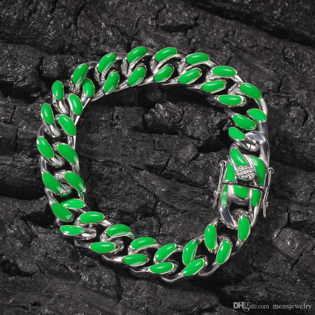 Luxo Designer Jóias Mulheres Pulseiras Gold Silver Charm Bracelet cubana Chain Link Bangle Hip Hop jóias homens de aço inoxidável 316L Hiphop