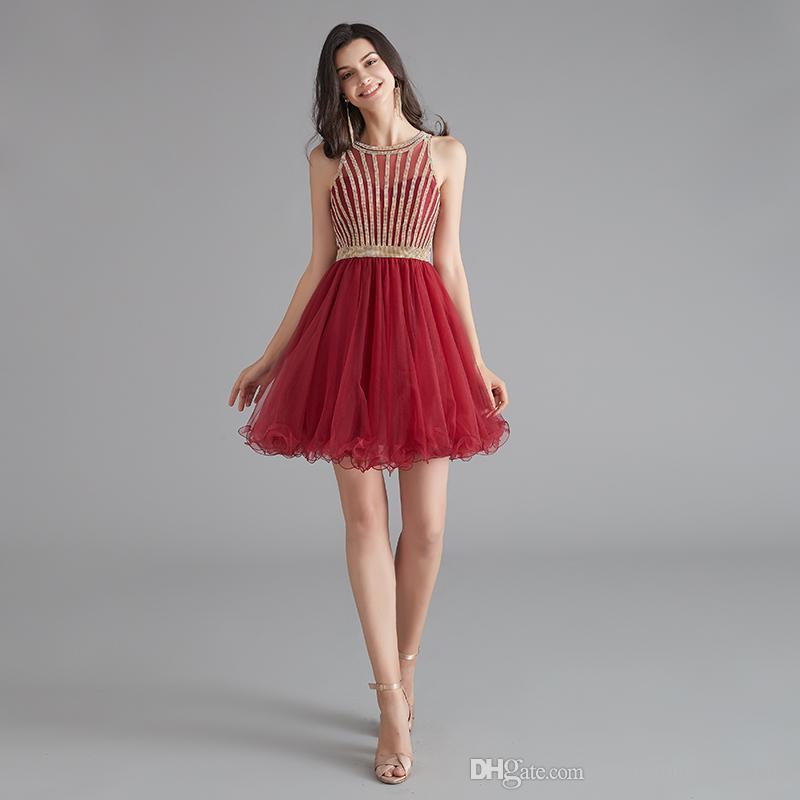 MG010 Scoop Kolsuz Tül Bordo Homecoming Elbise Kısa Mini Kristal Boncuk Güzel Top Elbiseler Fermuar Yukarı Geri Parti Elbiseler Ucuz