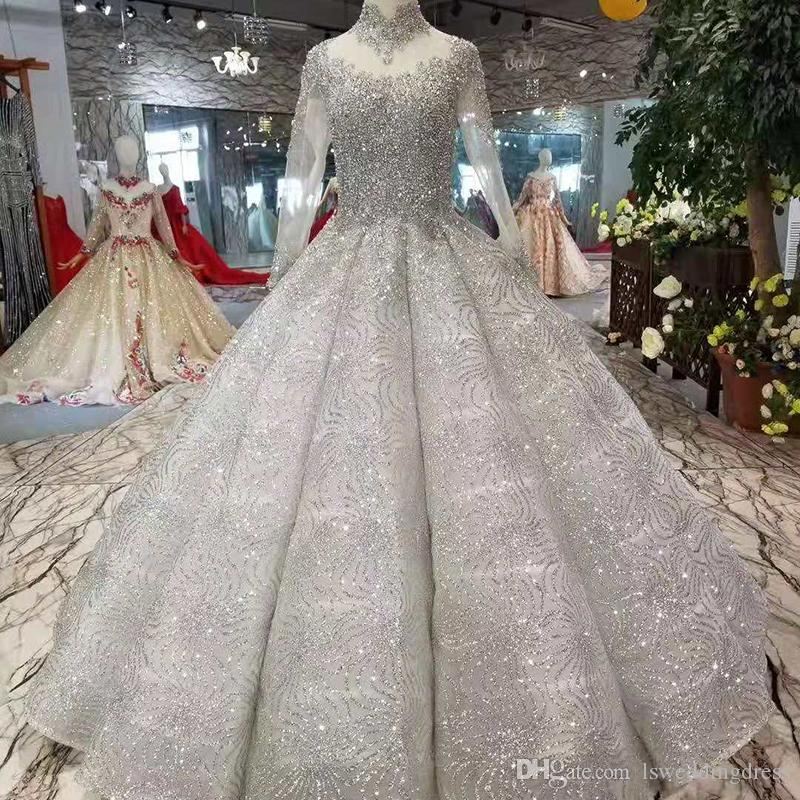 Shiny Beaded Prom Dress Ball Gown Illusion High Neck Long Sleeve Lace Up Back Evening Dress Women Occasion Gray Curve Shape Pleat Skirt