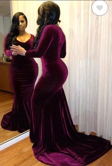 Borgogna V Neck maniche lunghe della sirena dei vestiti da sera 2020 Plus Size Prom Dresses velluto nero ragazze sweep treno partito convenzionale Abiti BC4042