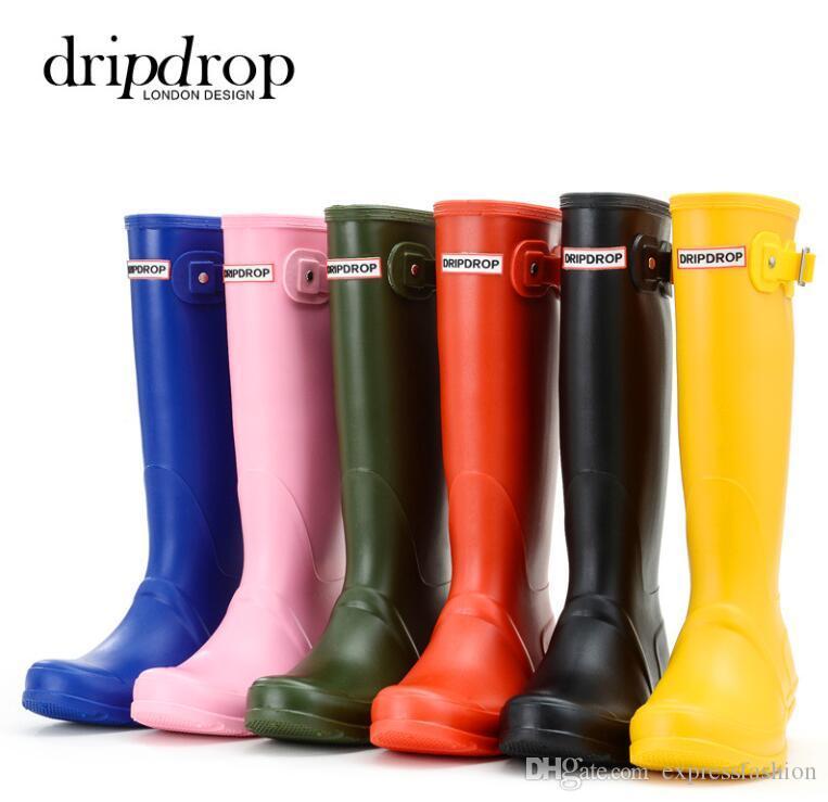 2020 المطاط أحذية المطر المرأة أحذية المطر ماء ماتي الركبة العليا عمد الإثنان ويلنجتون أحذية للحديقة العمل أحذية D25