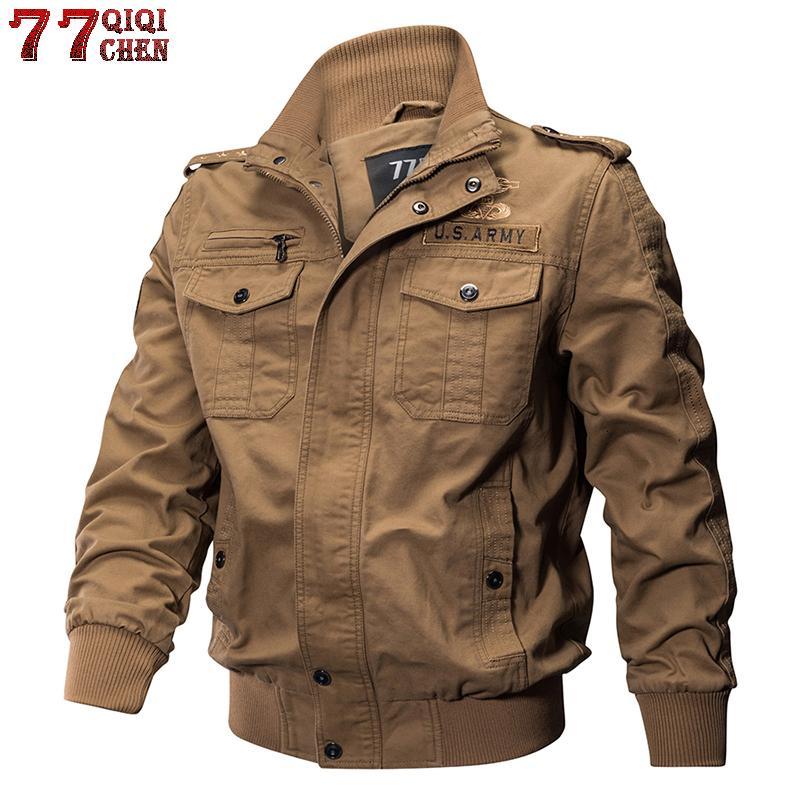 QIQICHEN de los militares del piloto del bombardero chaquetas de la capa del algodón de la chaqueta del ejército táctico Casual Male chaqueta de vuelo de la Fuerza Aérea más el tamaño M-6XL Y191104