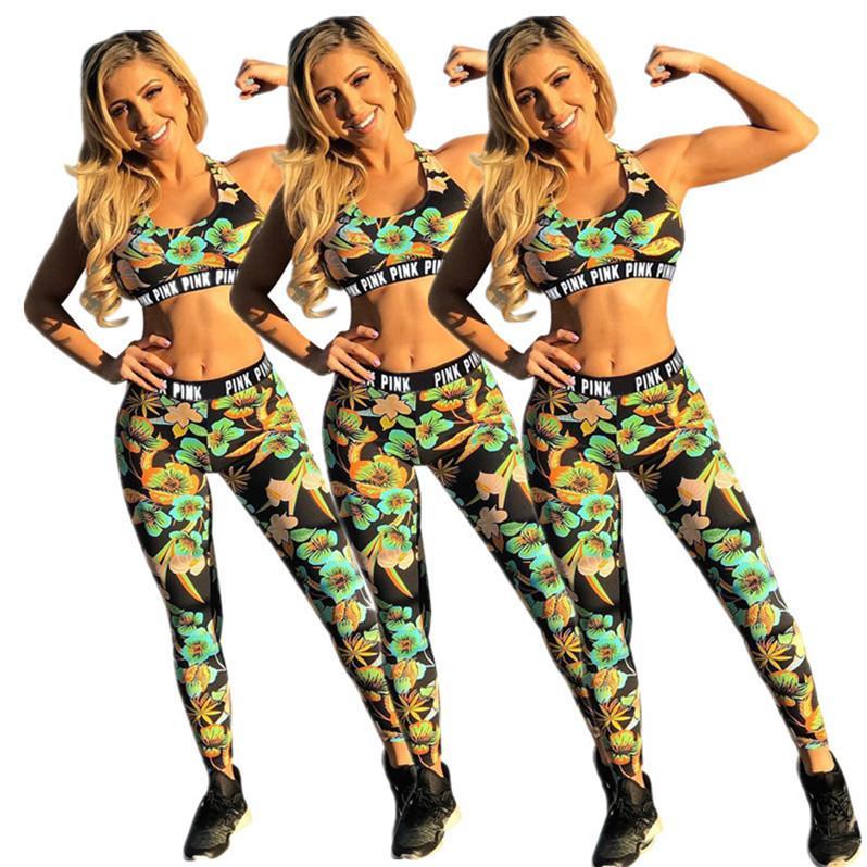 المرأة تصاميم رياضية الزهور الزهور المحاصيل تانك الصدرية الرياضة البرازيلي سروال اللباس وصفت اثنان من قطعة وتتسابق ملابس السباحة ملابس السباحة D6815