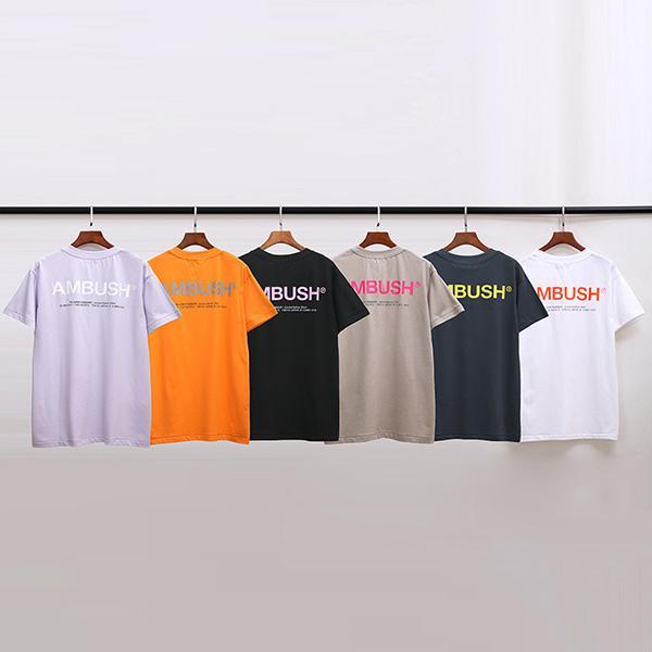 INS Tide EMBOSCADA camisetas 2020 Reflective Carta Tops homens casal mulheres Street Fashion Estilo de seis cores de verão camisetas