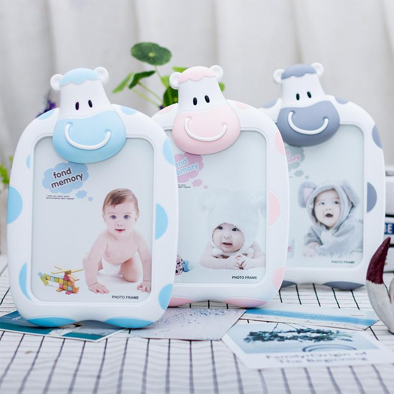 7 pulgadas marco de bebé de la historieta de la vaca de la foto Photo estudiante marco de pared foto de la mesa Decoración infantil