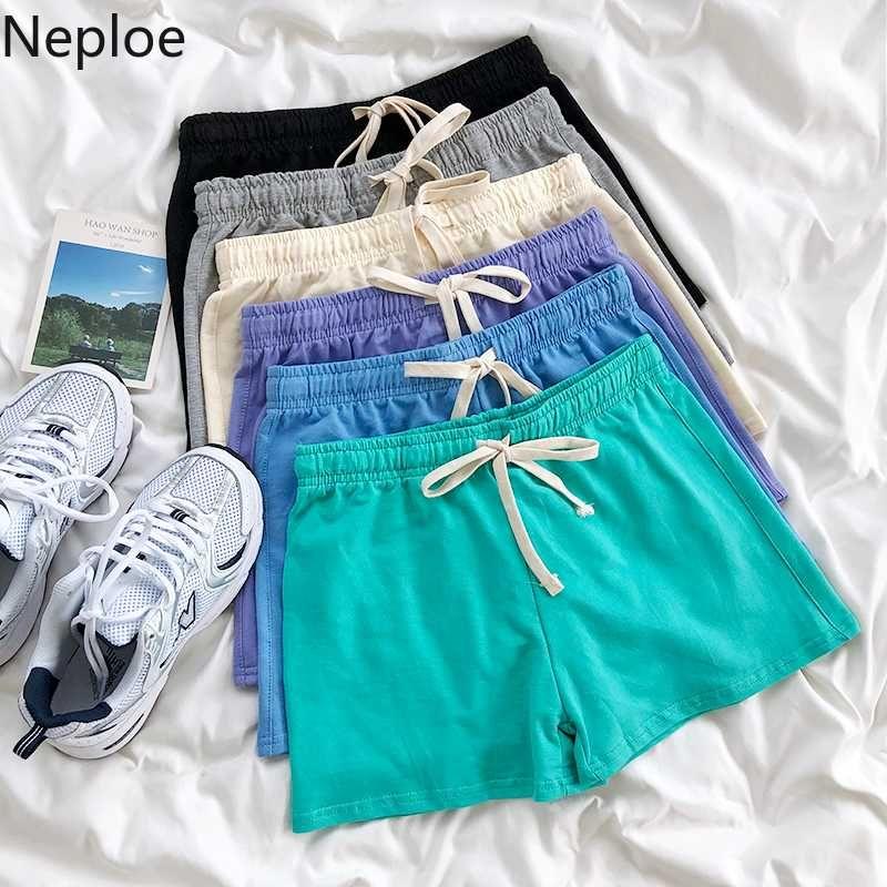 Neploe coreana Causal Mulheres Sólidos Shorts Lace Up estiramento cintura reta Bottoms 2020 Summer Fashion Curto Feminimos 4C291