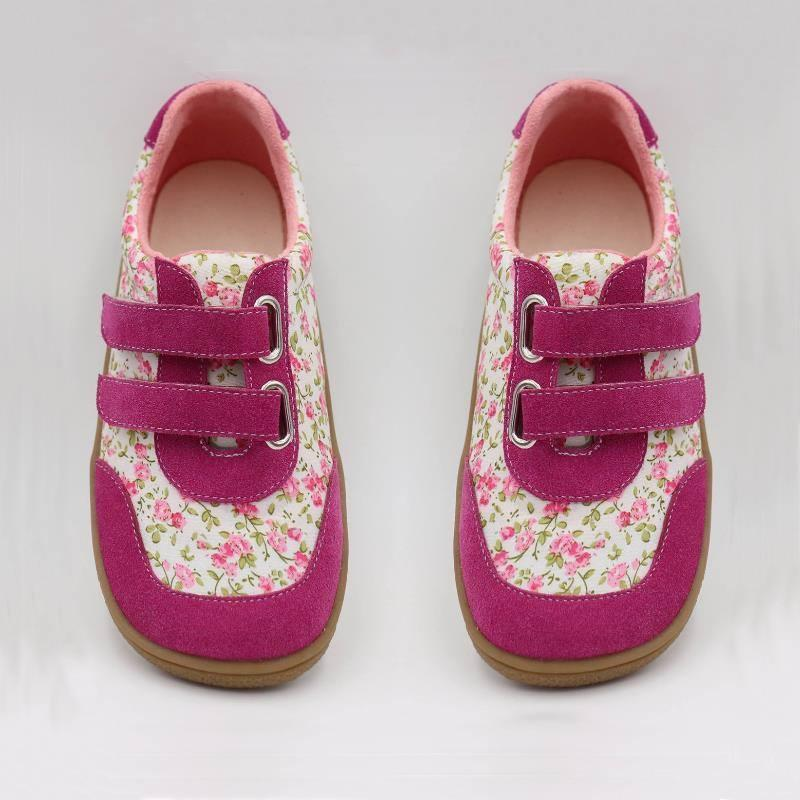 Kids 2019 Toddler Baby Genuine Leather + Fabric Shoe Girls Flower Sneaker Kid Child Causal Trainer Sequin Flat Barefoot MX190726 MX190727