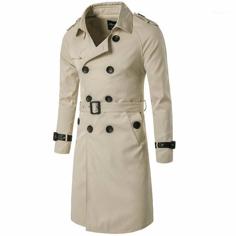 Slim Long Coat England Style Double Breasted Man Trench Coats Adjustable Waist And Epaulet Homme Cloth