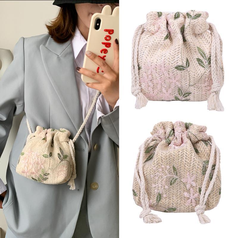 Случайные женщины мини-пляж сумки сумки сумки сумки ведро ротанга сумки сплетенные сумки соломенные лето ретро сумки на плечо Sdxak