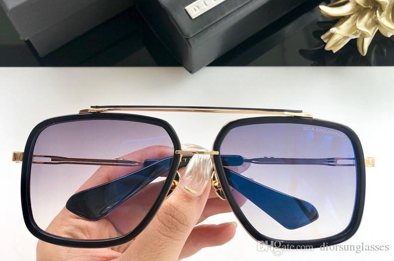 Erkek / kadın Kare Altın / Siyah Güneş Güneş gafas de sol Güneş bağbozumu Kutusu DNUM190513-6 ile gözlükler Yeni