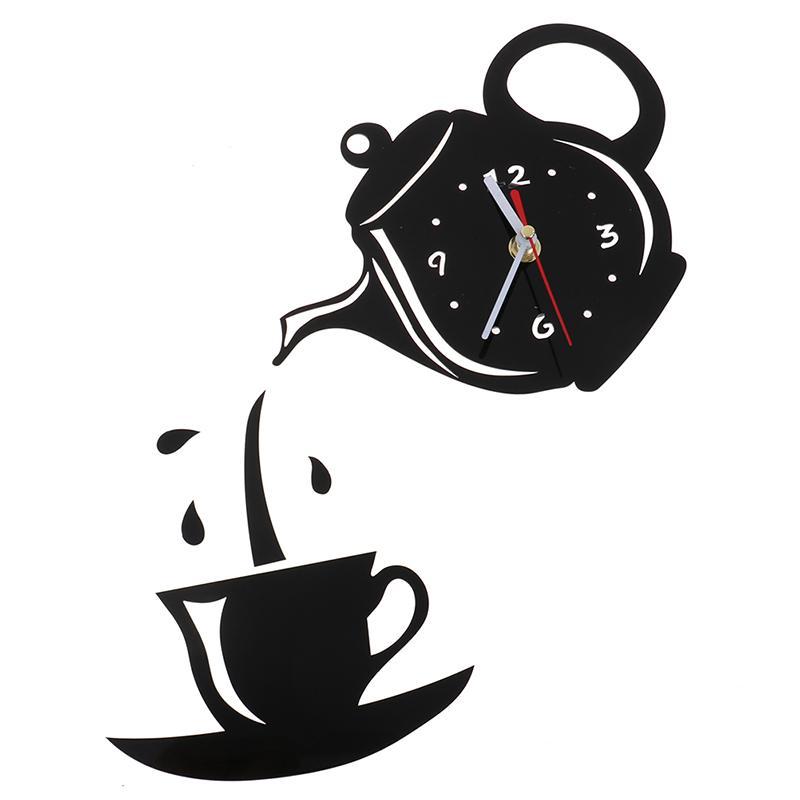 1шт DIY акриловые чашки кофе чайника 3D настенные часы Декоративные настенные часы Kitchen Гостиная Столовая Home Decor Часы