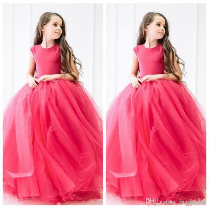 O-Cuello vestido de bola 2020 fiesta de cumpleaños de flores de tul vestidos de las muchachas de longitud de los vestidos de partido de los niños suave Vestidos