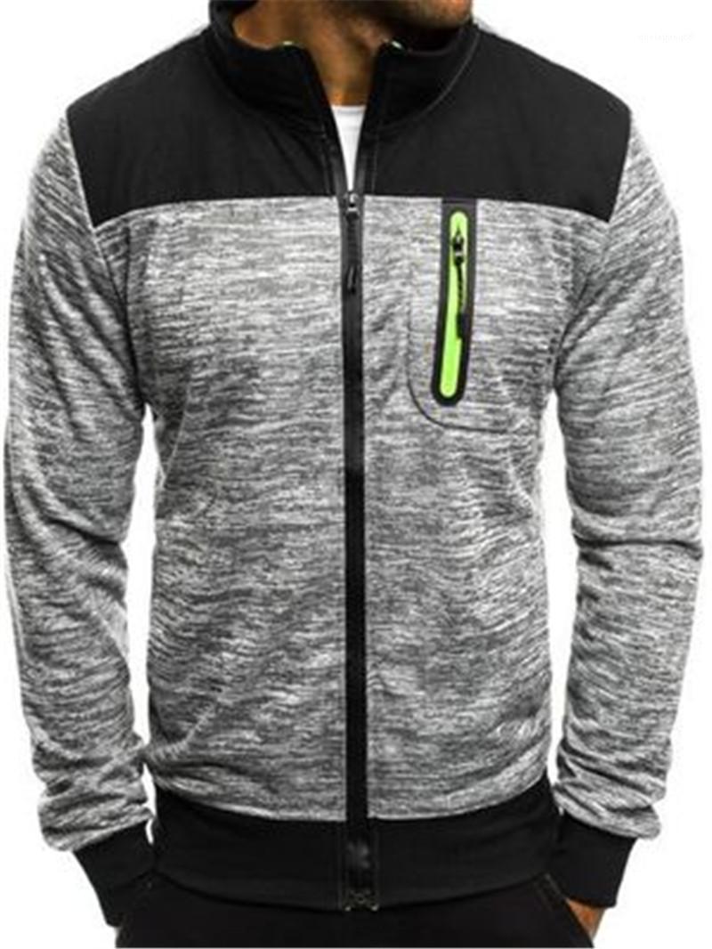 Nuevo diseñador abrigos de la cremallera del bolsillo de la chaqueta con capucha para hombre abrigos con mangas larga del color del contraste de vestir exteriores para hombre otoño de cationes Ropa