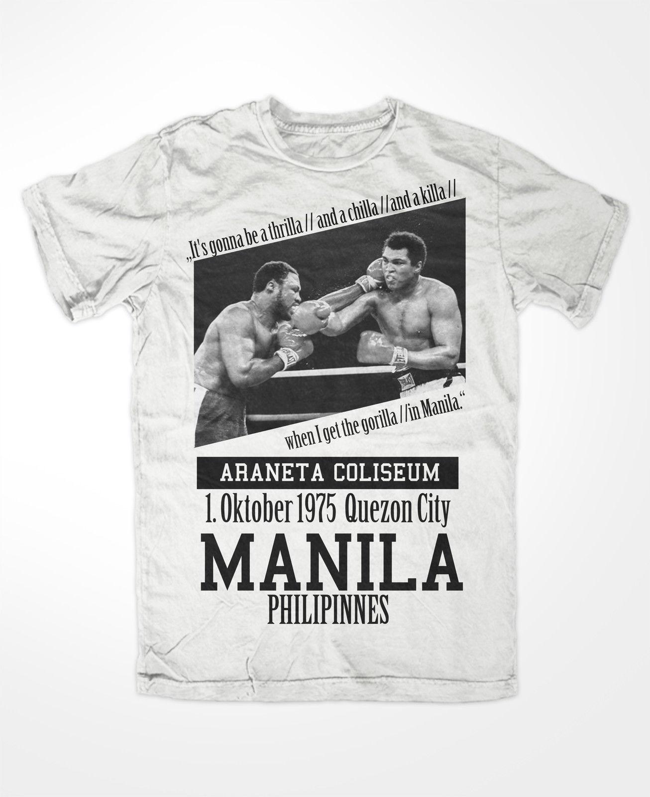 T-shirt Muhammad Ali 3 King Of The Ring Boxinger Ko Thrilla a Manila Il più grande per l'uomo Hipster O-Collo Causale Cool Top