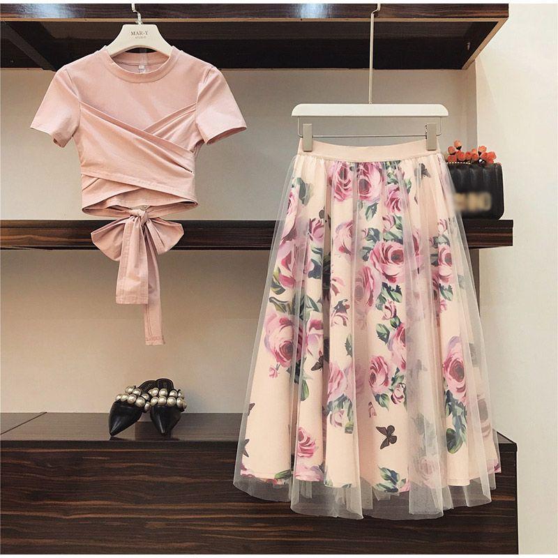 꽃 프린트 여성 T 셔츠 메쉬 스커트는 우아한 여성 스커트 2019 여름 소녀 티 여성 탑 Bowknot 빈티지 두 조각 세트 정장