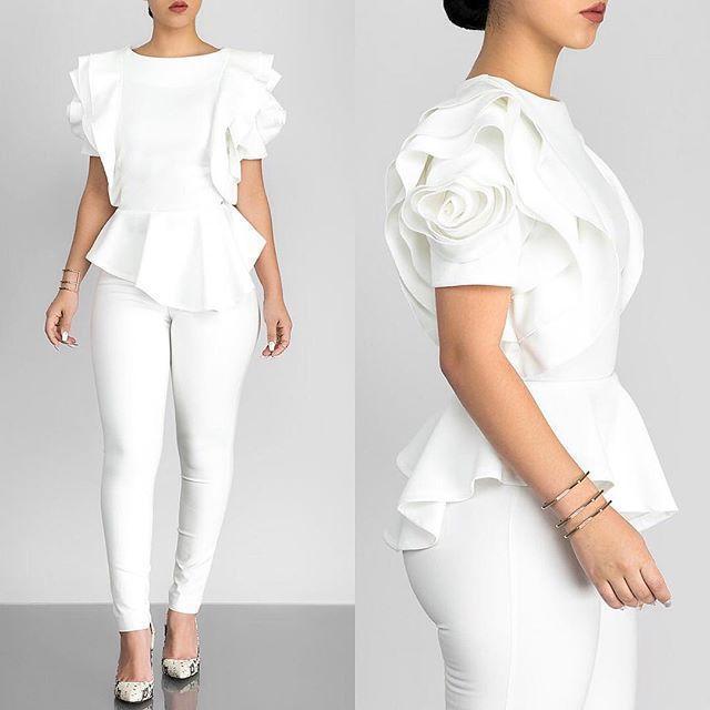 Women Blouse Tops Shirt Layers Petal Sleeves Elegant Fashion Spring Summer Rose Red Blue Black White Bluas Ruffles Classy Lady Y19062501