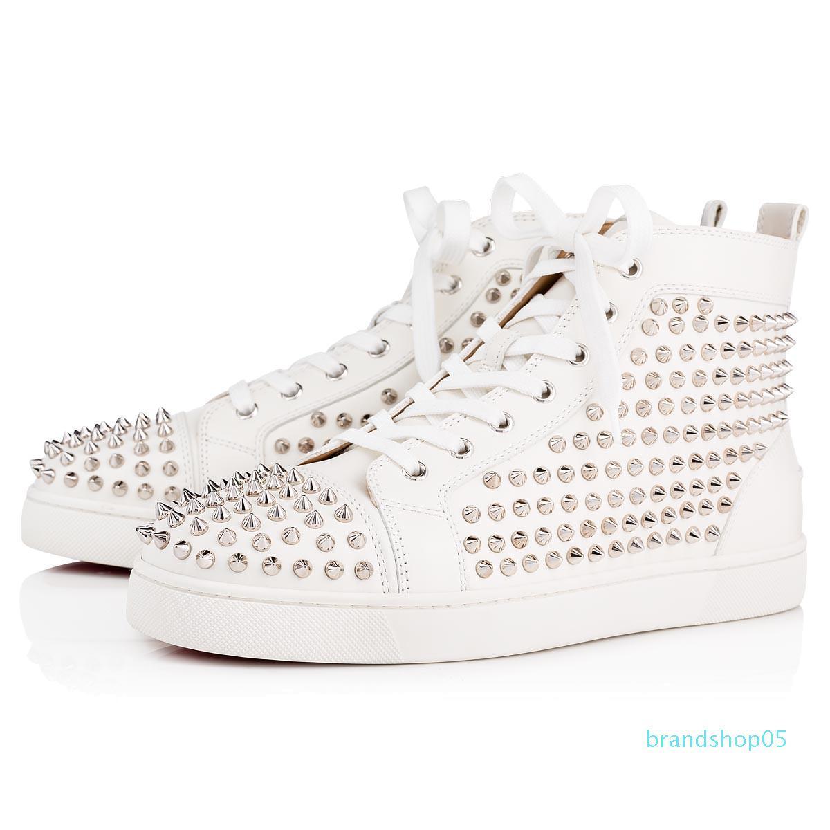 Big Size Eur36-47 Designer Shoes High Cut Red fundo de Spike Sedue bezerro Sneaker Luxo sapatos de casamento festa de couro genuíno calçados casuais 011
